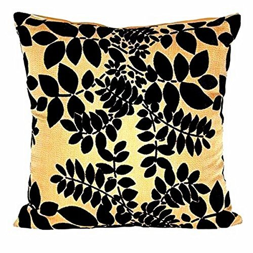 "Gorgeous Beige with Black Velvet Leaves 16"" X 16"" Cushion Covers Pillow For Sofa Bed"