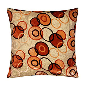 Geometric Brown Dots Circles Gold Soft Brocade Cushion Cover Pillow for Sofa Bed 16 x 16