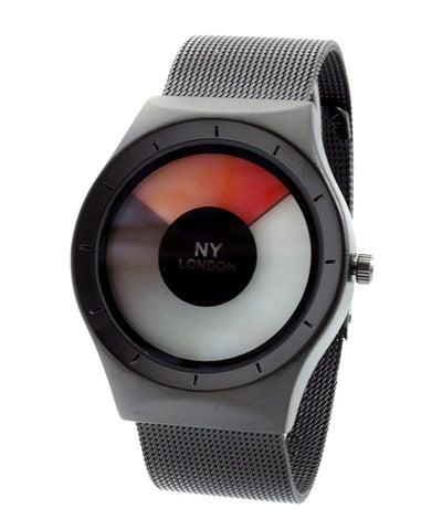 NY London Men's Metal Mesh Strap Black Red LED Display Luxury Wrist Watch Quartz Flexible Clasp Extra Battery