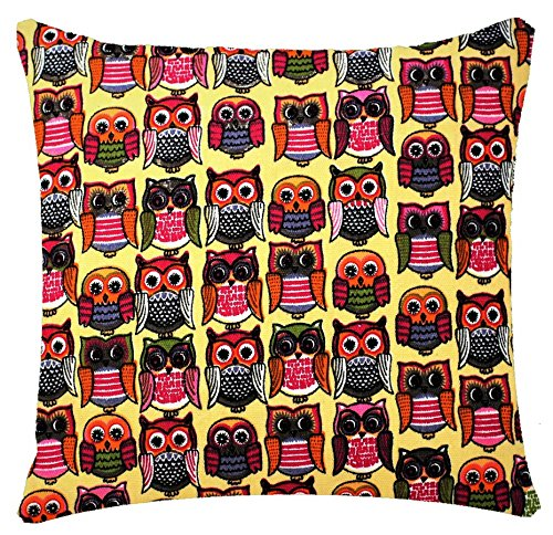 Animal Print Owl Print Yellow 17 x 17 inch Cushion Cover for Sofa Bed Couch