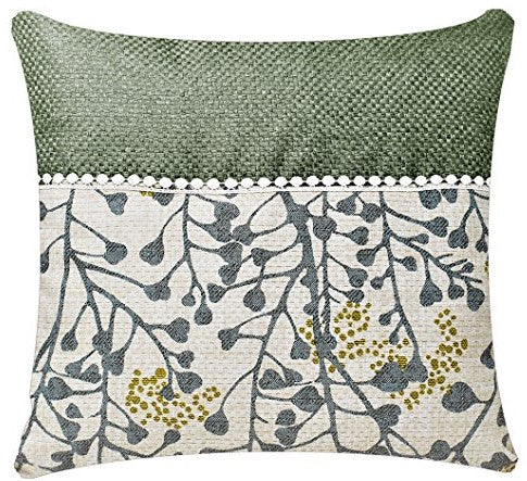 Bullahshah Grey White Summer Bloom Leaf Print with Lace Square 17 x 17 inch Cushion Cover Pillowcase for Sofa Bed Couch