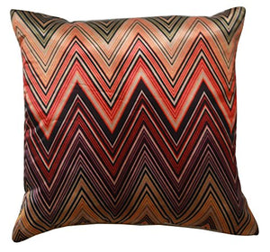 "Beautiful Multicolour Zigzag Print 16"" X 16"" Silk Satin Cushion Cover Pillow for Sofa Bed"