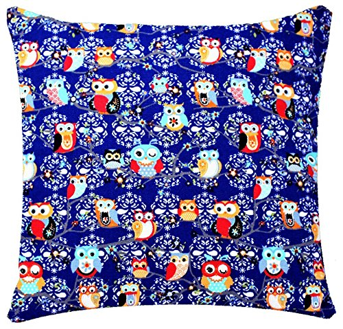 Royal Blue Owl Animal Print 17 x 17 inch Cushion Cover for Sofa Bed Couch