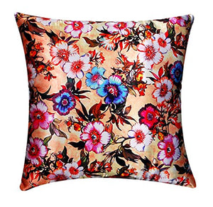 "Silk Satin Digital Floral Print in Lovely Pastel Colours 16"" x16"" Cushion Cover Pillow for Sofa Bed"