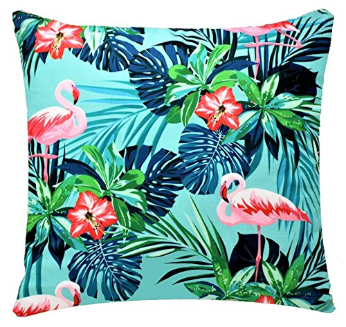 Tropical Palm and Flamingo Print Chenille Cotton Cushion Cover for Sofa Bed Couch 17 x 17 inch