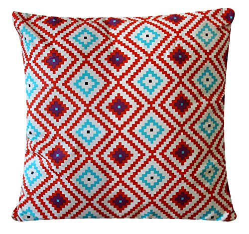 "Multi Colour Plush Cross Print 100% Twill Cotton 16"" X 16"" Cushion Cover Pillow for Sofa Bed"