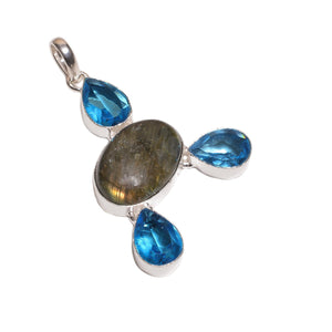 925 Sterling Silver Overlay Blue Topaz & Labourite Stones Pendant Necklace for Women's Girls with Rhodium Plated Chain
