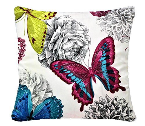 Butterfly and Floral Print Chenille Cotton 17 x 17 inch Cushion Cover for Sofa Bed Couch