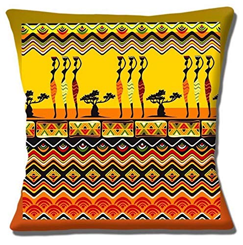 Digital Print Egyptian Culture Inspired Chenille Cotton Square 17 x 17 inch Cushion Cover Pillowcase for Sofa/Bed/Couch
