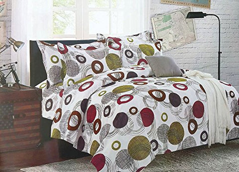 Bullahshah Circles, Dots and Abstract Design Duvet Cover Bedding Set with Pillowcases, White/Green/Brown/Magenta