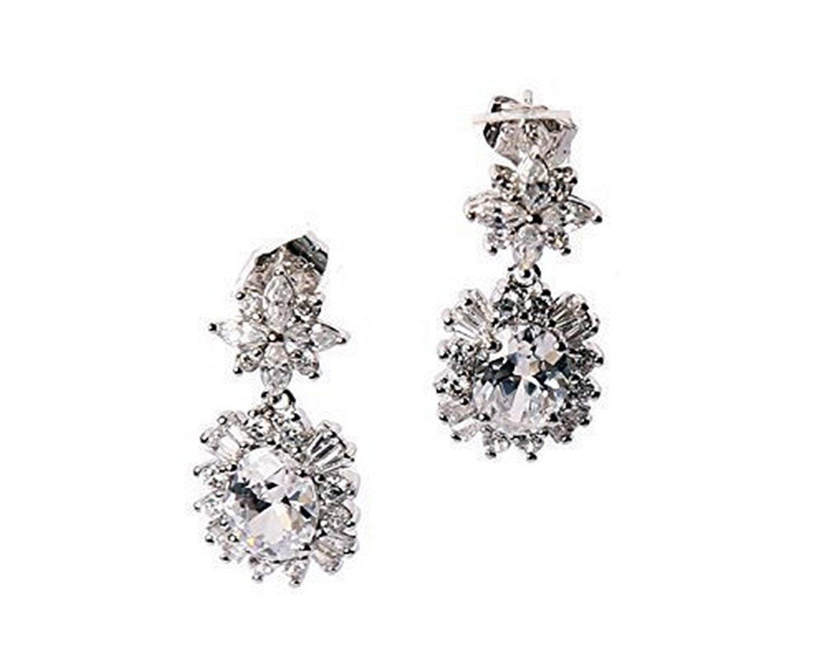 Rhodium Plated Clear Austrian Crystal Element Drop Dangle Earring Push Back