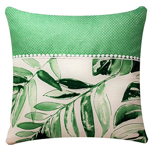 Bullahshah Green White Leaf Print with Lace Square 17 x 17 inch Cushion Cover Pillowcase for Sofa Bed Couch