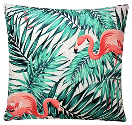 Chenille Cotton Palm & Flamingo Tropical Print Square 17 X 17 inch Cushion Cover for Sofa Bed Couch