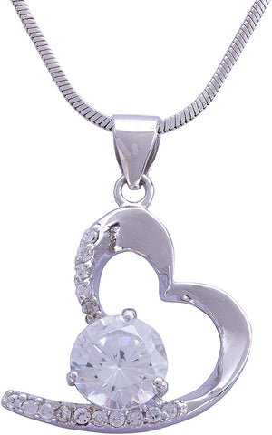 925 Sterling Silver Heart Shaped Clear White Zircon Pendant Rhodium Plated Chain