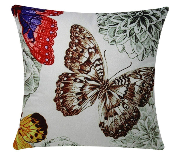 Bullahshah Multicolored Butterflies Print with Mint Green Background Chenille Cotton Square 17 x 17 inch Cushion Cover, Pillowcase for Sofa Bed Couch