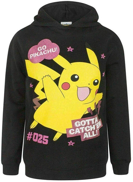 "Pokémon ""Gotta Catch 'Em All!"" Official Hoodie Top in Black for Girls Full Sleeves 100% Cotton"