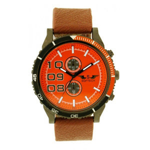 Softech Men's Tan Brown Strap Orange & Black Dial PU Leather Strap Decorative Small Dials Watch Analog Quartz Buckle Clasp Extra Battery