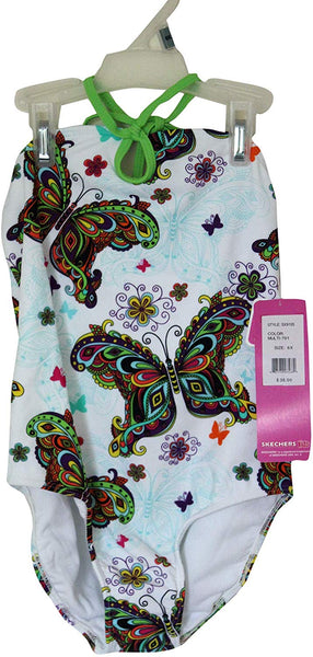 Skechers Young Girl's Multi Butterfly & Paisley Print Swimsuit, Sun Protection UPF 50+ Swimwear, Halter Neck One Piece Swimming Costume