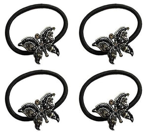 Set of 4 Black Butterfly Beaded Elastic Hairband/Ponytail Band