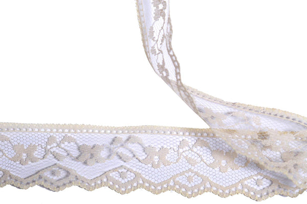 Vintage Antique DIY Net Rachel Lace Ribbon Floral Pattern Trimming Bridal Wedding Prom Dress Scalloped Edge 30mm Wide M5939