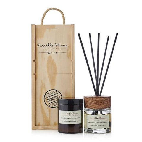 Vanilla Blanc Natural Reed Diffuser & Candle Gift Set Encased in Signature Hand Crafted Wooden Box