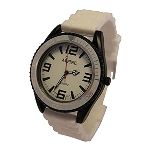 Alpine Toy Style UNISEX White Silicone Rubber Strap Army Style Japanese Movement Analogue Wrist Watch
