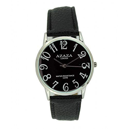 AZAZA Unisex Wrist Watch Silver Plated Bezel Analog Display Quartz Movement with PU Leather Strap AZAZA-S-U