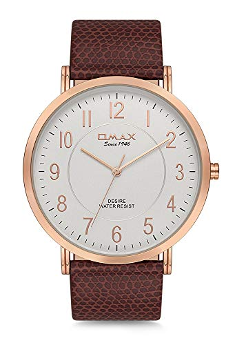 Omax Men's Snake Impression Leather Strap Wrist Watch, Analog Display, Japanese Quartz Movement, Buckle Clasp, 3 ATM Water Resistant