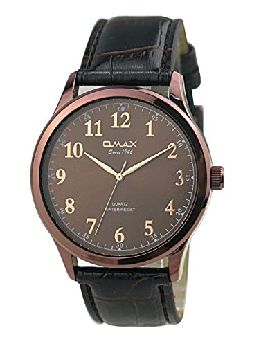 Omax Men's Numeric Dial Leather Strap Wrist Watch, Analog Display, Japanese Quartz Movement, Buckle Clasp, 3 ATM Water Resistant