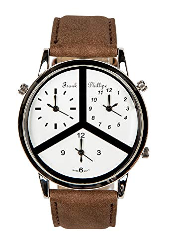 Frank Phillipe Men's Three Time Triple Zone Leather Strap Wrist Watch, Analog Display, Japanese Quartz Movement, Buckle Clasp