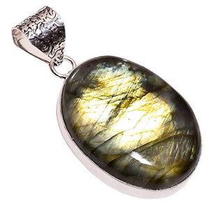 Bullahshah Ethnic Style Sterling Silver Overlay Labradorite Gemstone Pendant, Natural Stone Handmade Necklace for Women with Rhodium Plated Chain, NLG-543