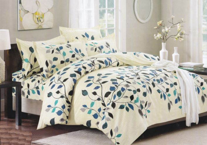 Bullahshah Leaves Branch Nature Print Duvet Cover Bedding Set with Pillowcases, Cream/Blue/Green
