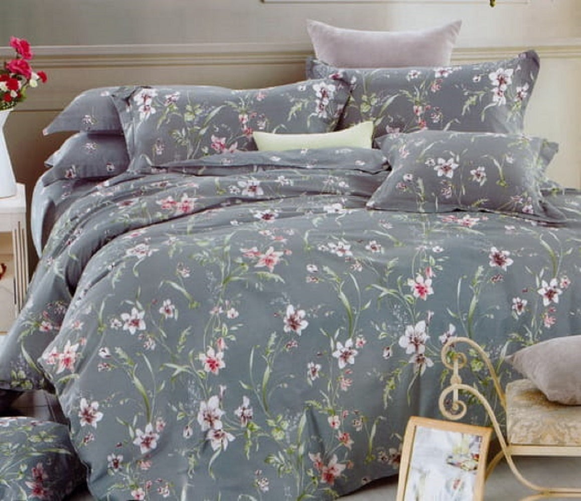 Bullahshah Blooming Spring Flowers Print Duvet Cover Bedding Set with Pillowcases, Grey/Green/Pink