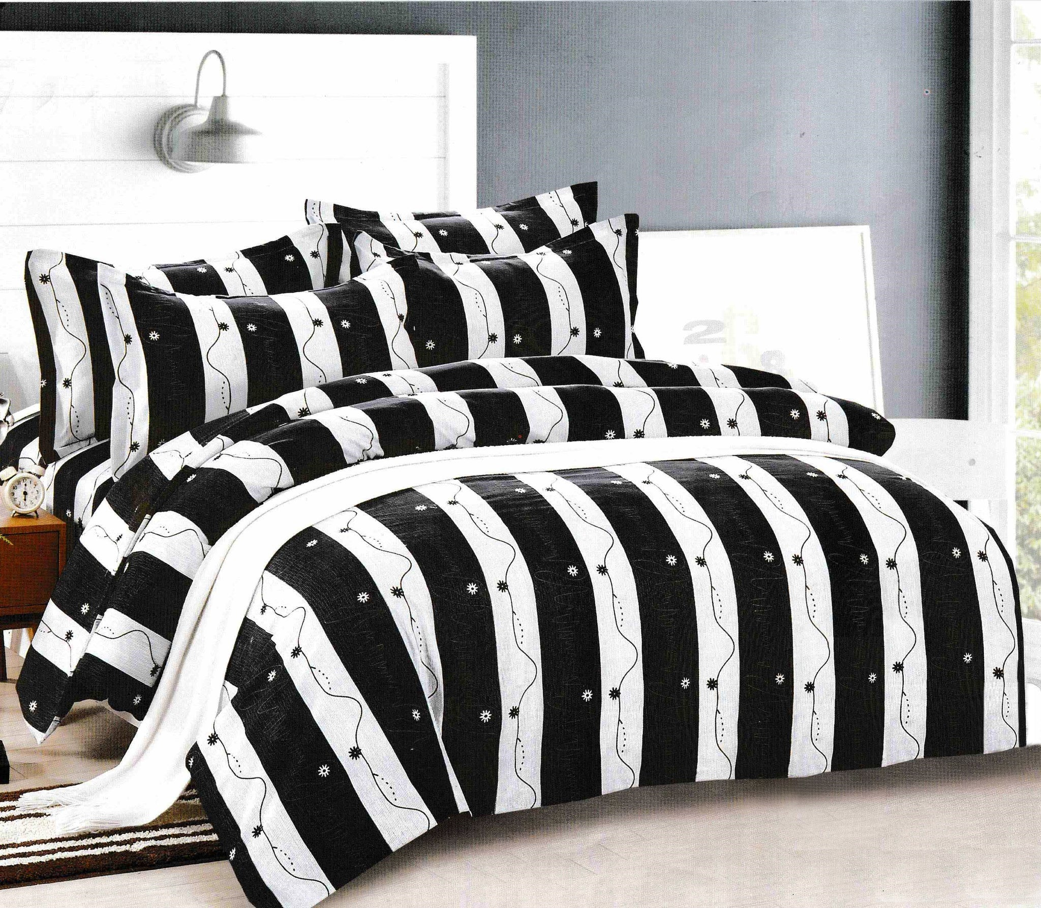 Bullahshah Grey, Black & White Panels Design Duvet Cover Bedding Set with Pillowcases