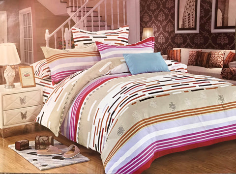 Bullahshah Multicolored Geometric Stripes Pattern Duvet Cover Bedding Set with Pillowcases, Beige/Brown/Pink