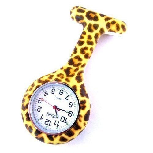Censi Nurse Silicone Tunic Watch Brooch Fob in Leopard Print With One Extra Battery