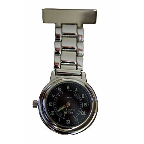 "Pelex""Pulse Time"" Silver with Black Face Luminous Hands Metal Nurses Doctors Paramedics FOB Watch Brooch Extra Battery"