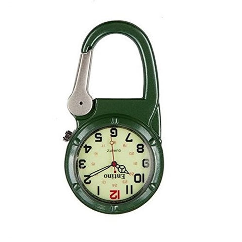 Entino Unisex Nurses Pocket Watch Silver Clip on Green Carabiner Luminous Face Sturdy Military Style Analog Display Quartz Movement E-FOB