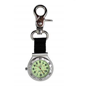 Klox Unisex Pocket FOB Watch Silver Clip-On Carabiner Luminous Face Doctors Nurses Analog Display Quartz Movement