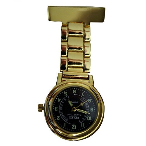 "Pelex""Pulse Time"" Gold with Black Face Luminous Hands Metal Nurses Doctors Paramedics FOB Watch Brooch Extra Battery"