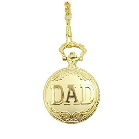 Bullahshah DAD Design Unisex Gold Plated Pocket FOB Watch Vintage Design Analog Display Quartz Movement with Pendant Chain One Extra Battery Urgold3