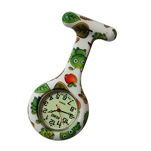 Censi Green Caterpillar Print Luminous Dial Silicone Nurse Doctors Tunic Brooch FOB Watch Japanese Movement Premium Quality
