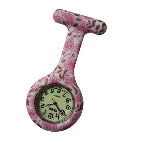 Censi Pink Flowers with Luminous Dial Silicone Nurse Doctors Tunic Brooch FOB Watch Japanese Movement Premium Quality