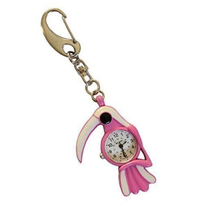 Klox Pink & White Parrot Bird With White Beak FOB Pocket Key Ring Watch For Doctors Nurses Extra Battery
