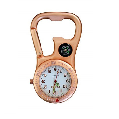 Entino Clip-On Carabiner FOB Watch with Compass and Bottle Opener for Doctors Nurses Paramedics Chefs Extra Battery