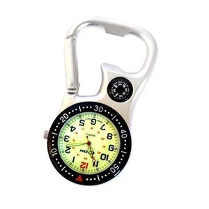 Klox White Silver Clip on Carabiner FOB Watch with Green Luminous Face and Compass and Bottle Opener for Doctors Nurses Paramedics Chefs