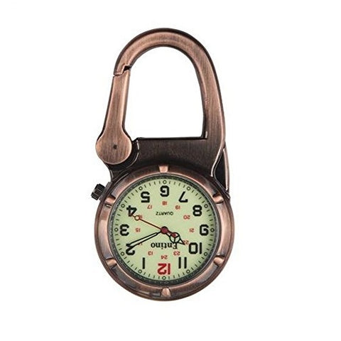 Entino Unisex Pocket FOB Watch Antique Copper Clip on Carabiner Luminous Face Sturdy Doctors Nurses Analog Display Quartz Movement Ent-FOB