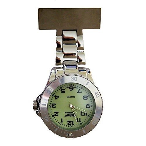 NY London Silver with Green Luminous Face Metal Nurse Doctor Paramedic FOB Watch Brooch Extra Battery