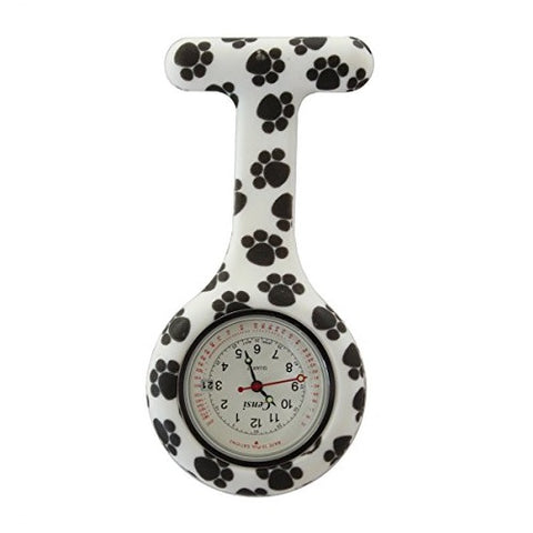 Censi Unisex Nurse Pocket FOB Watch Tunic Brooch Date on The Dial Dog's Paw Black and White Silicone Analog Display Quartz Movement C-FOB