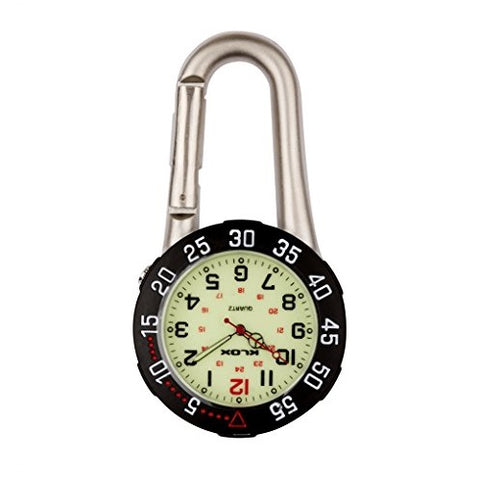 Silver Clip on Carabiner with Black Rotating Bezel Luminous Face FOB Watch for Doctors Nurses Paramedics Chefs